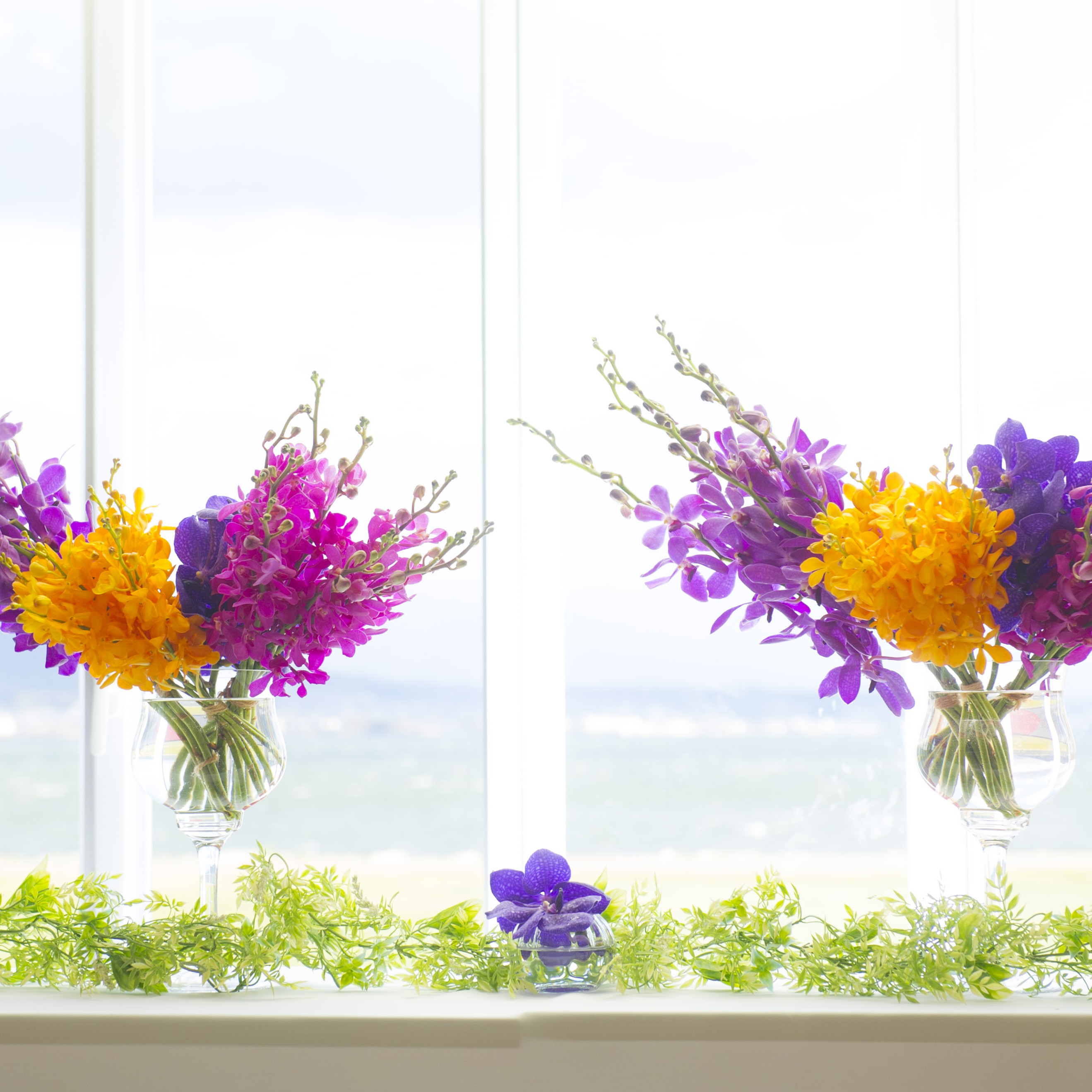 料理テーブル装花
